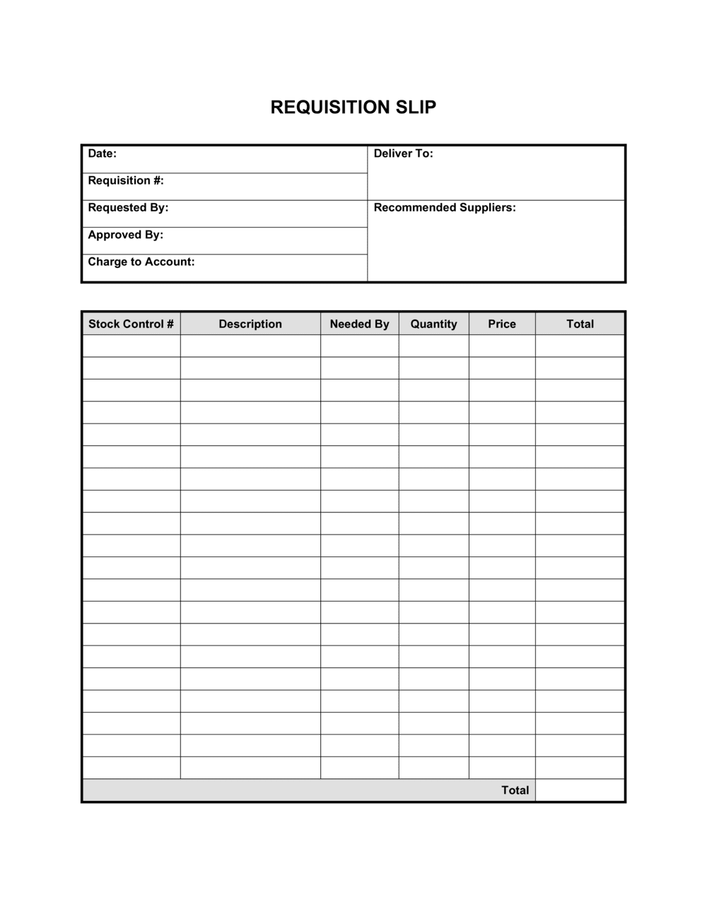 Business-in-a-Box's Requisition Slip Template