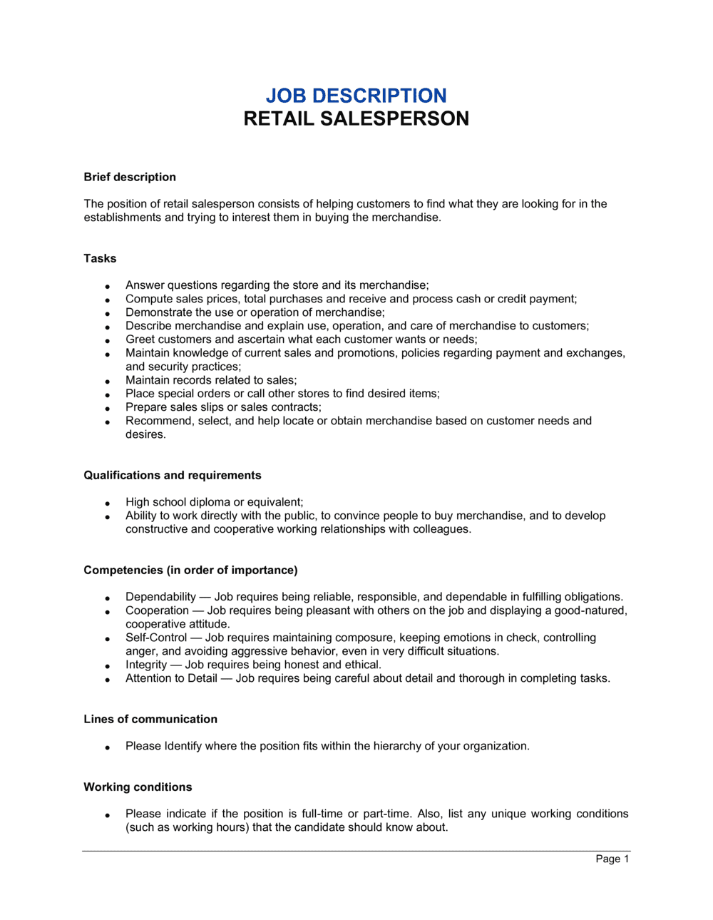Business-in-a-Box's Retail Salesperson Job Description Template