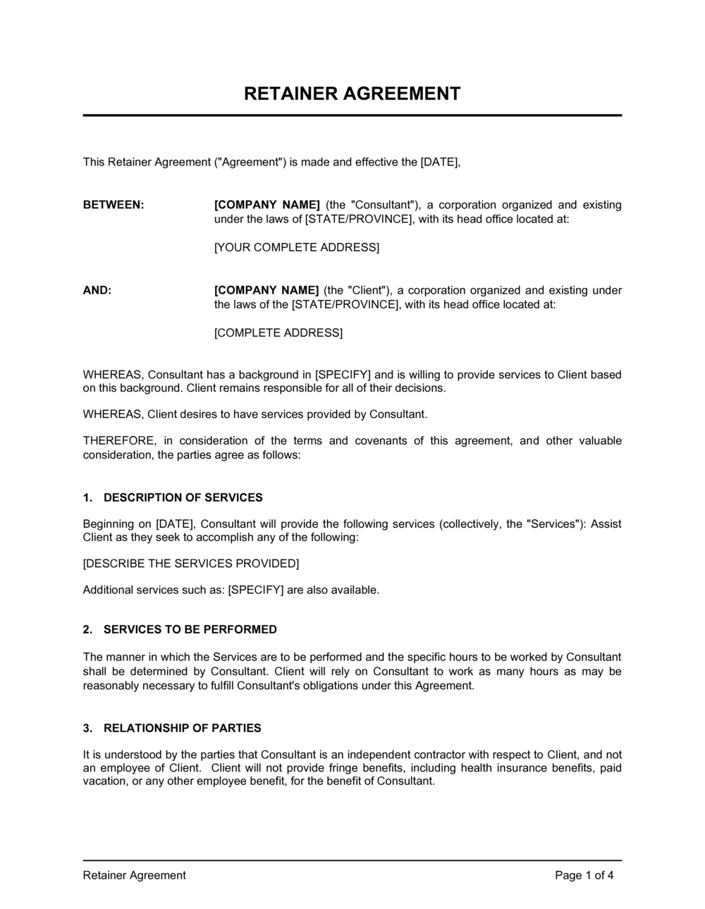 Business-in-a-Box's Retainer Agreement Template