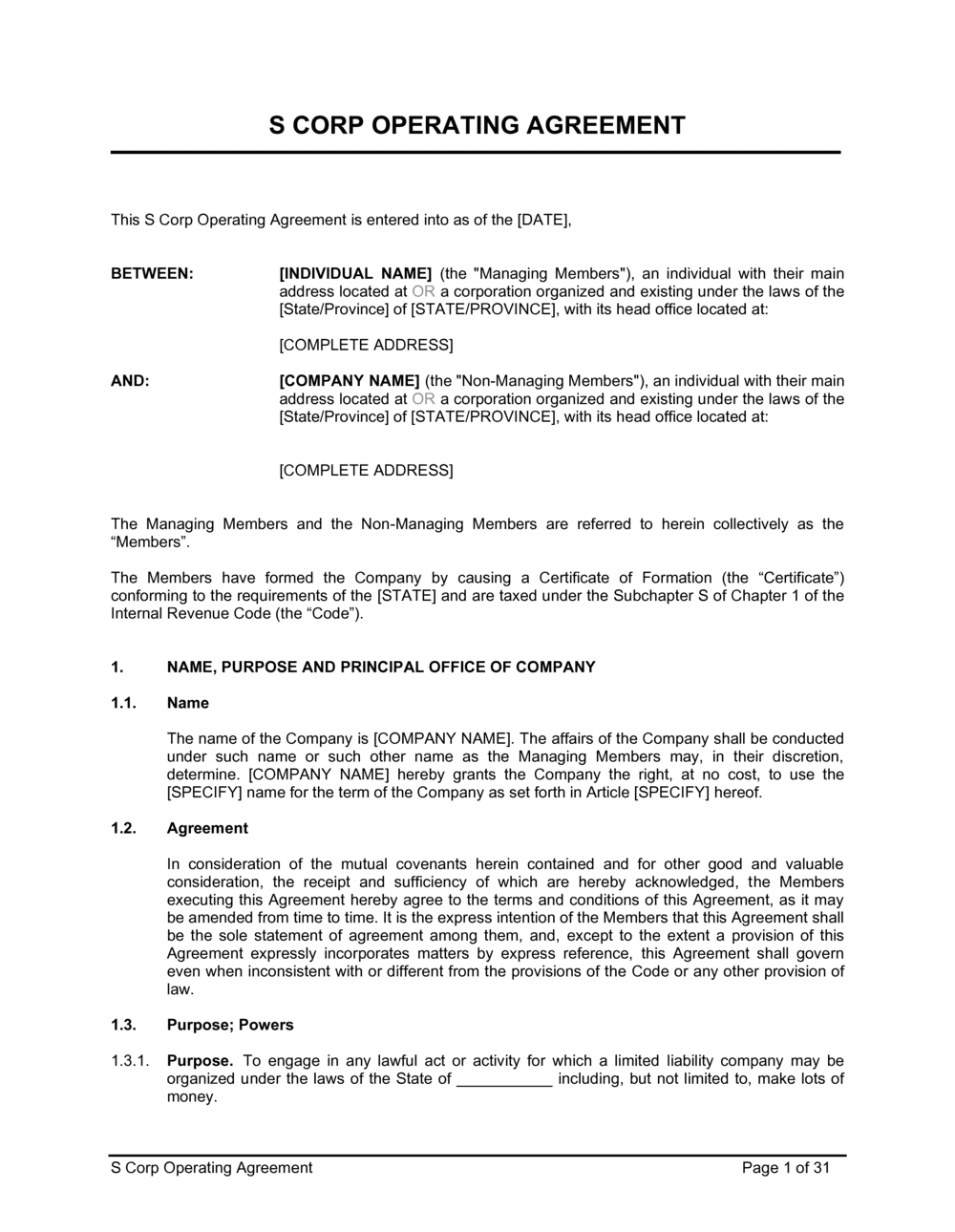 Business-in-a-Box's S Corp Operating Agreement Template