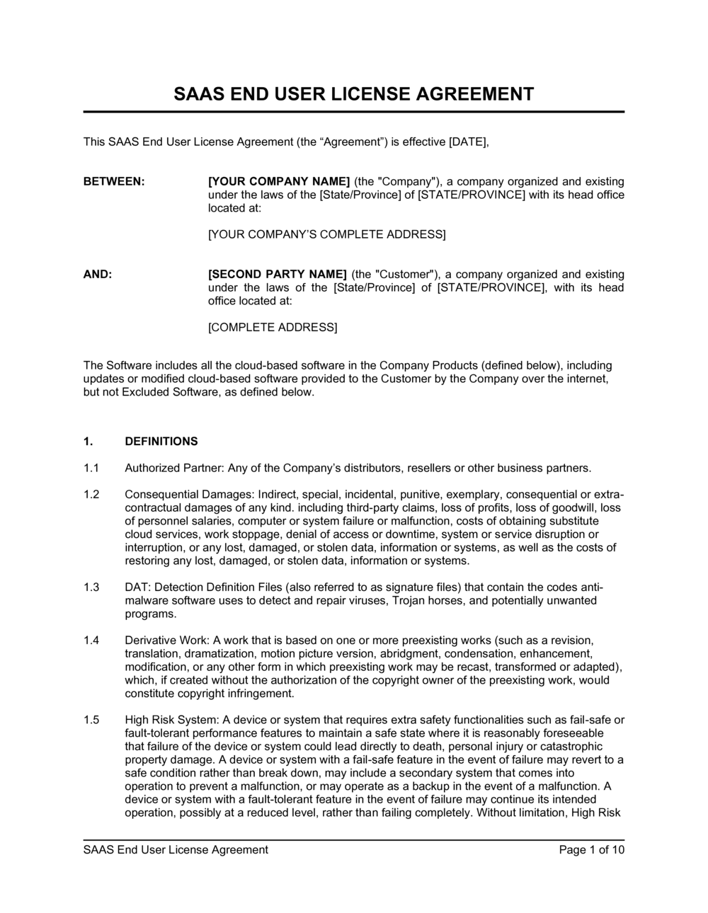 Business-in-a-Box's SaaS End User License Agreement Template