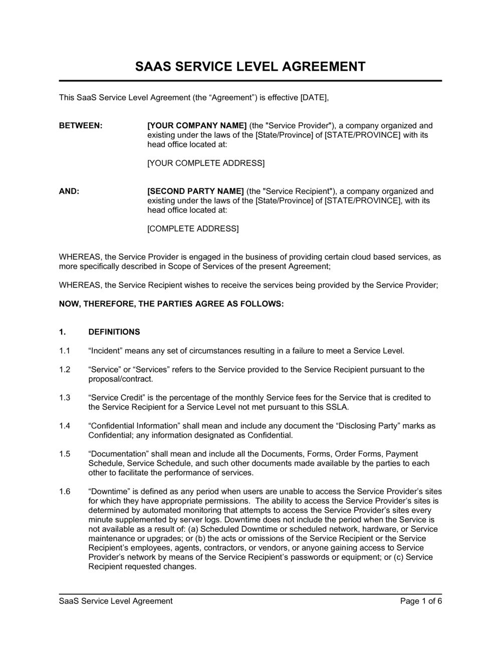 Business-in-a-Box's SaaS Service Level Agreement Template