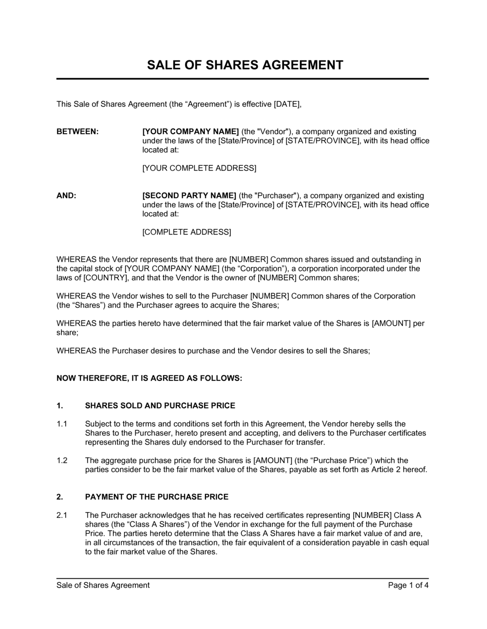Business-in-a-Box's Sale of Shares Agreement Template