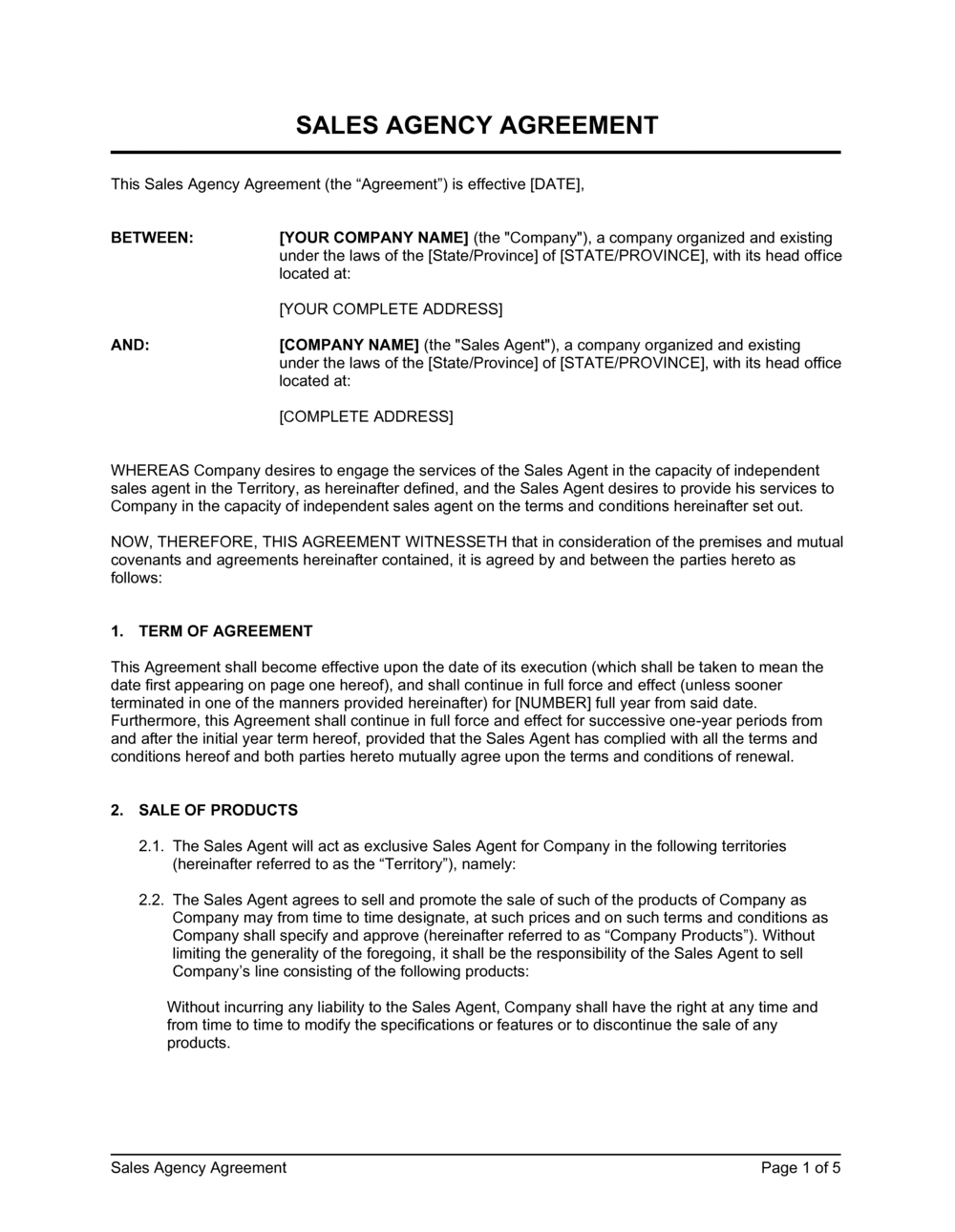 Business-in-a-Box's Sales Agency Agreement With Trademarks protection Template