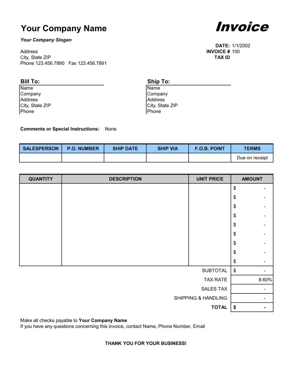 Business-in-a-Box's Sales Invoice - Excel Template