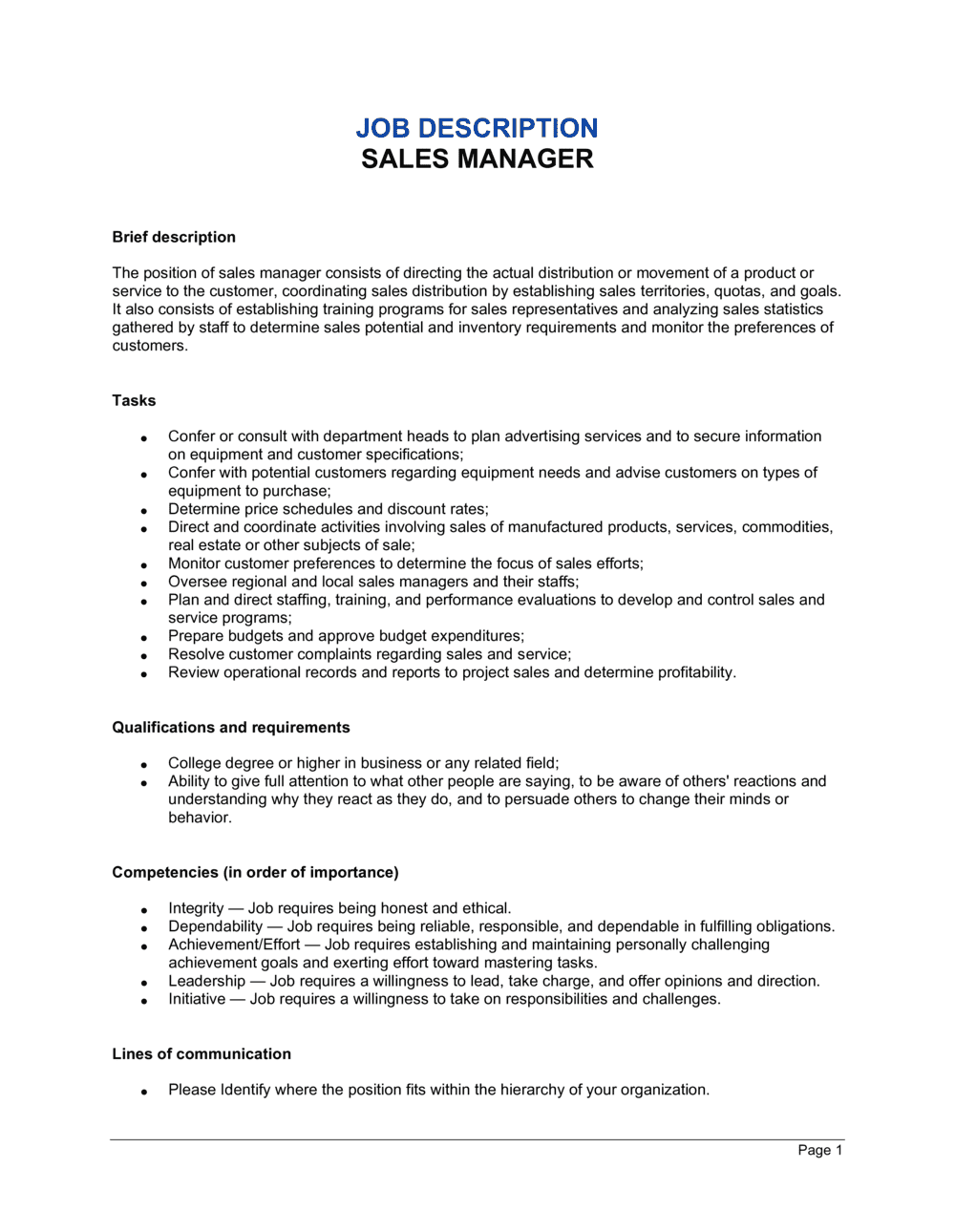 Business-in-a-Box's Sales Manager Job Description Template