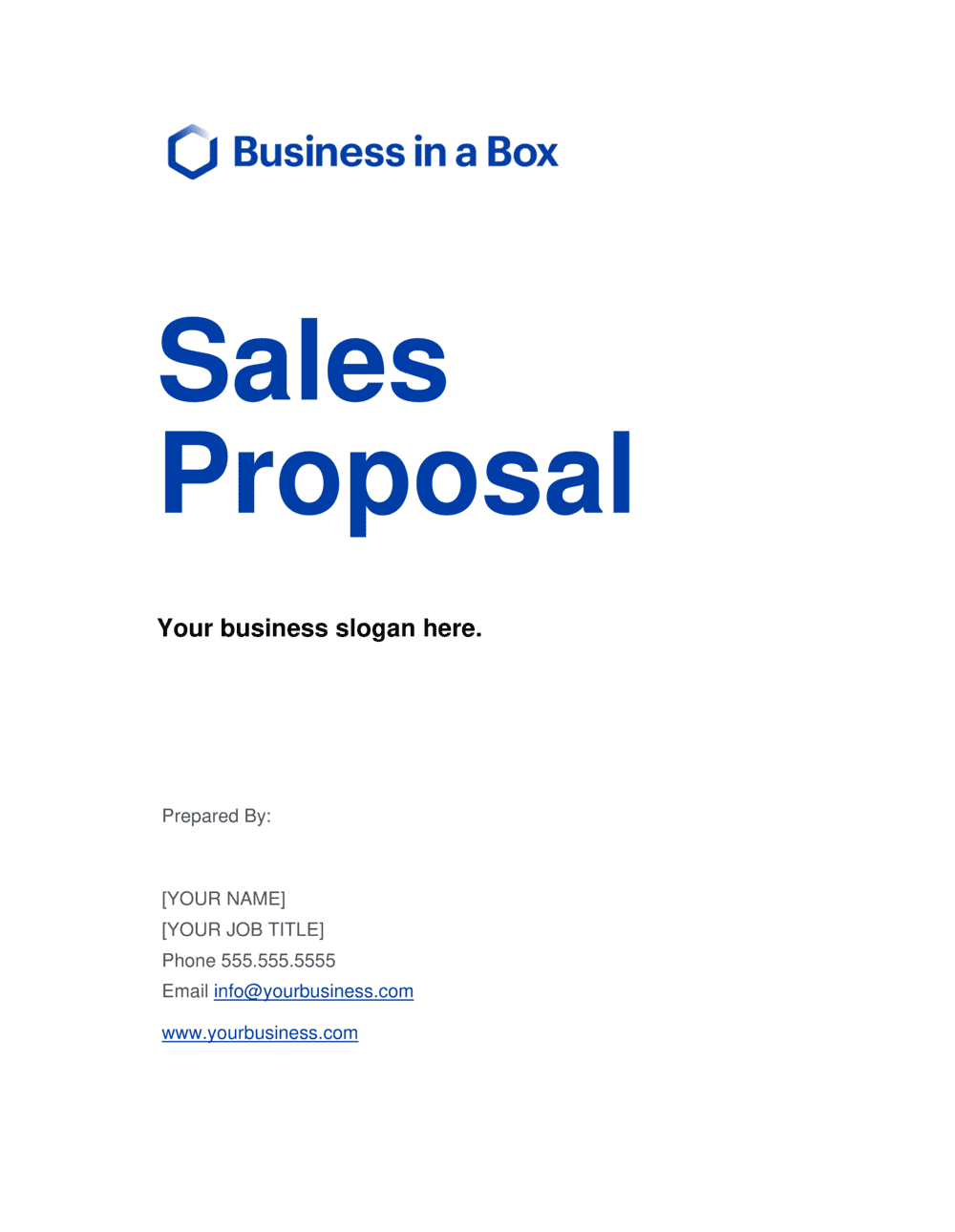Business-in-a-Box's Sales Proposal Short Version Template