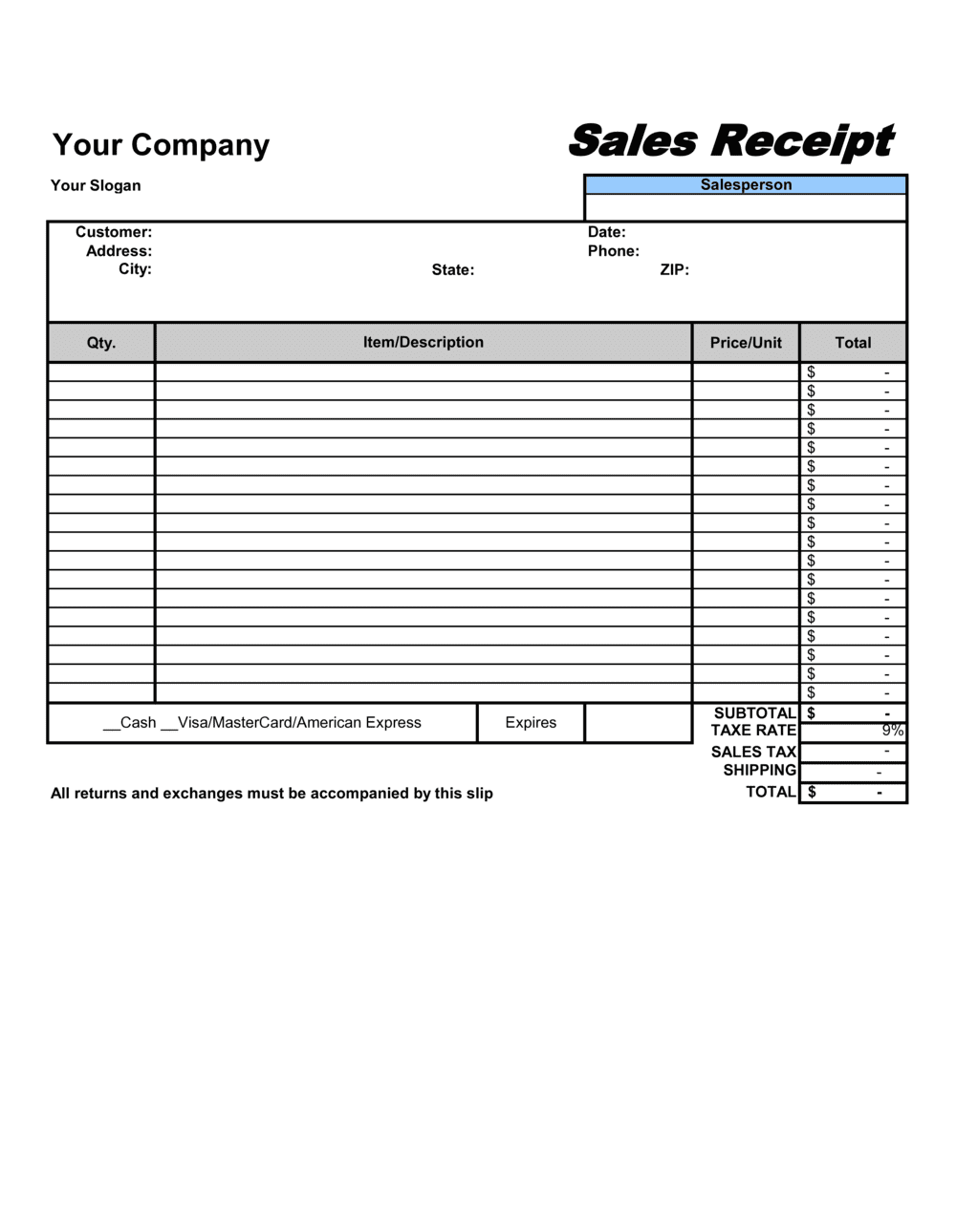 Business-in-a-Box's Sales Receipt Template