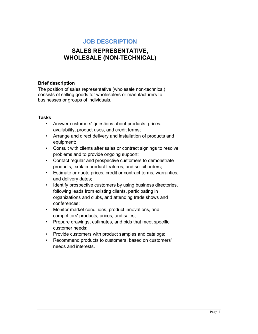 Business-in-a-Box's Sales Representative Wholesale (Non-technical) Job Description Template