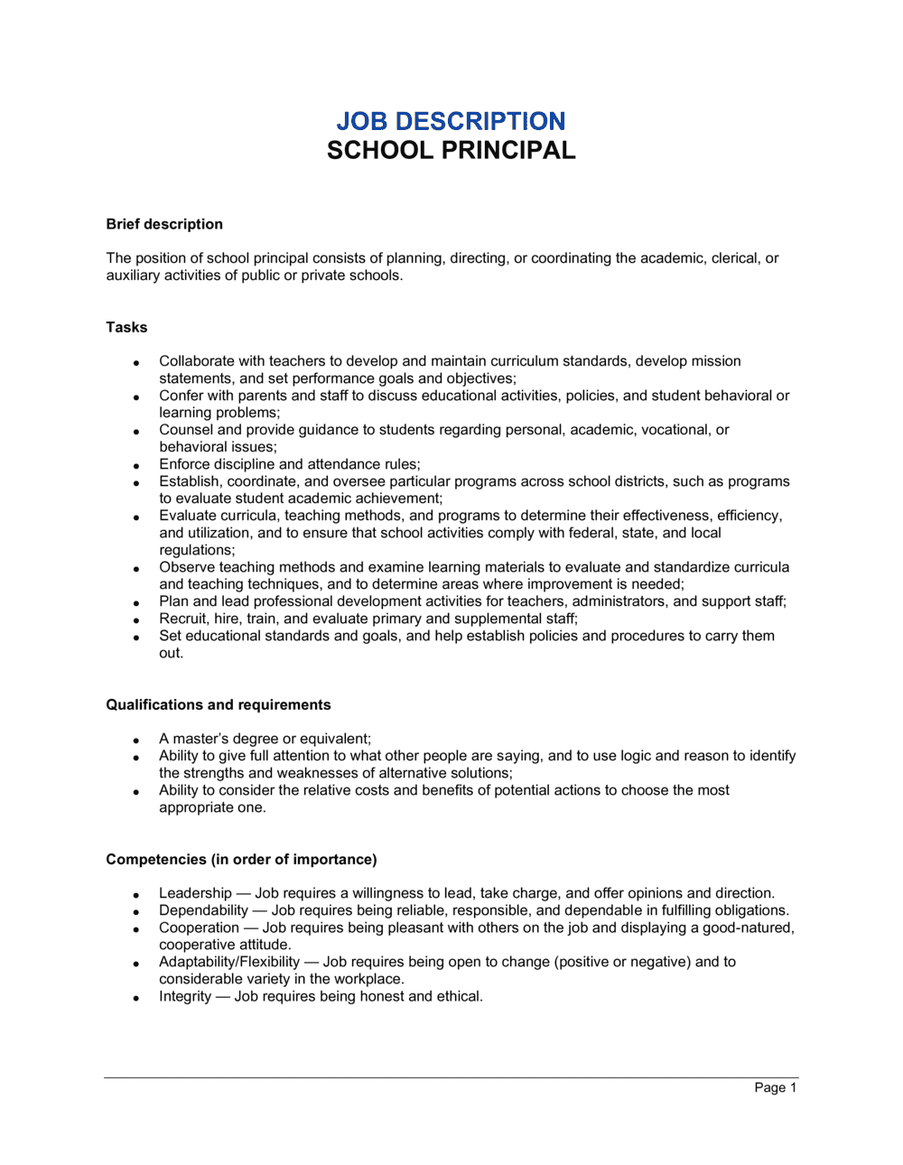 Business-in-a-Box's School Principal Job Description Template