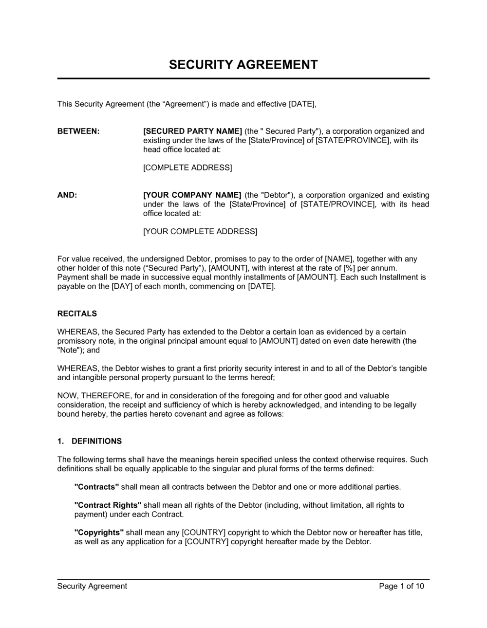 Business-in-a-Box's Security Agreement Template