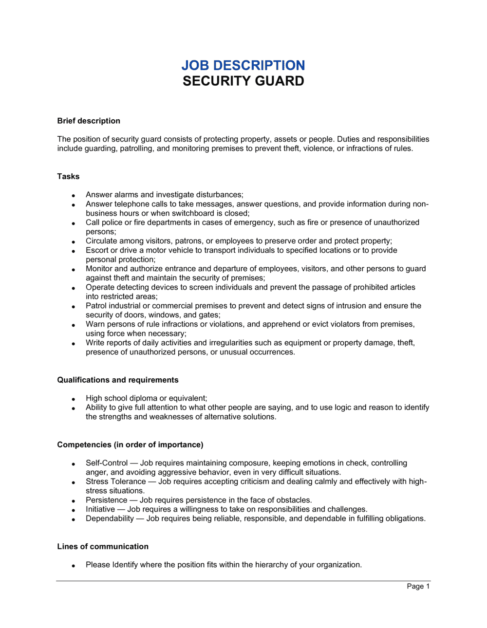 Business-in-a-Box's Security Guard Job Description Template