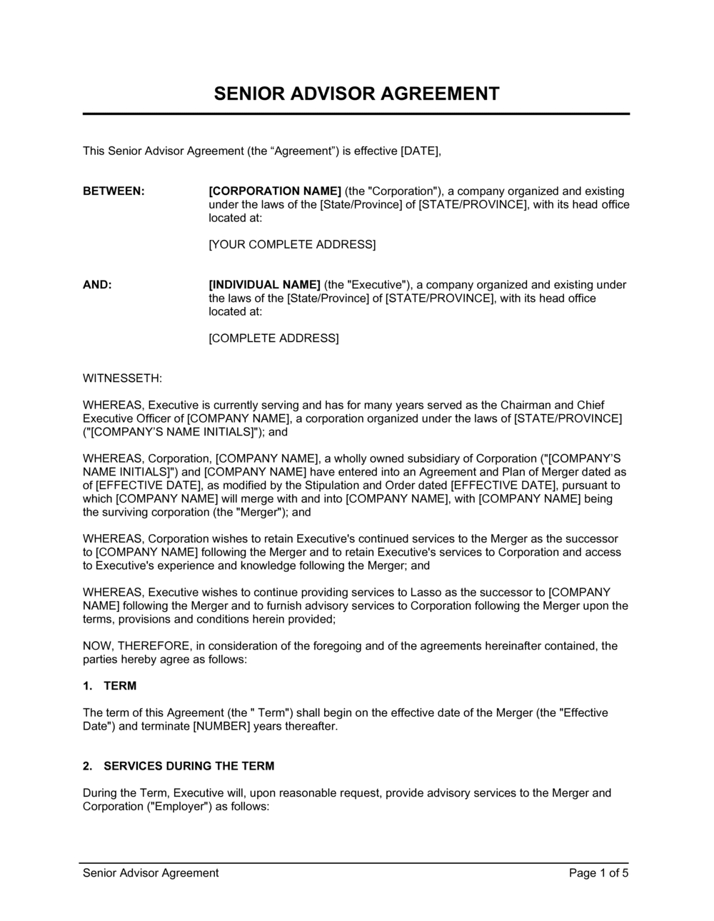 Business-in-a-Box's Senior Advisor Agreement Template