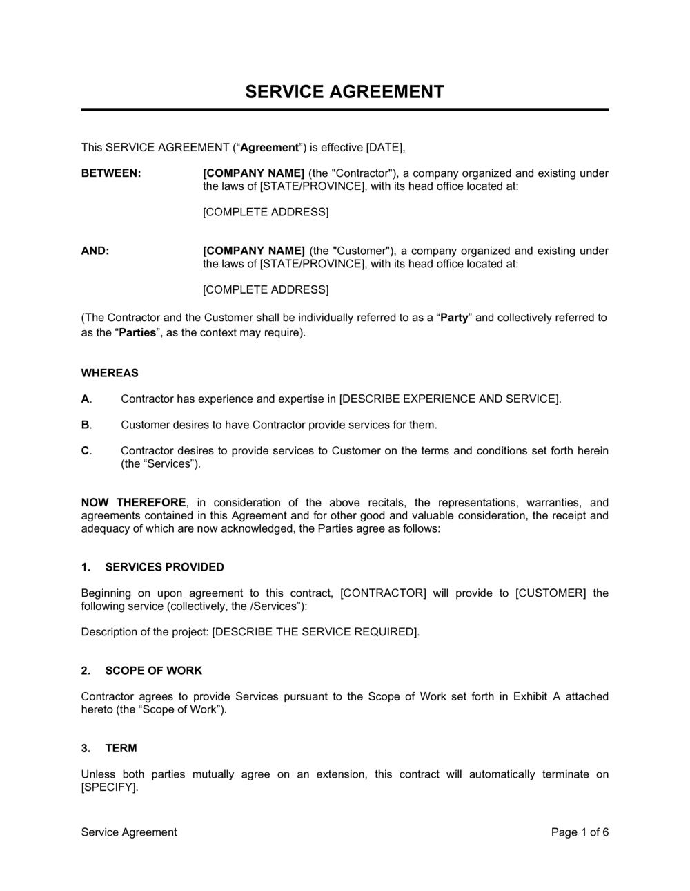 Business-in-a-Box's Service Agreement Template