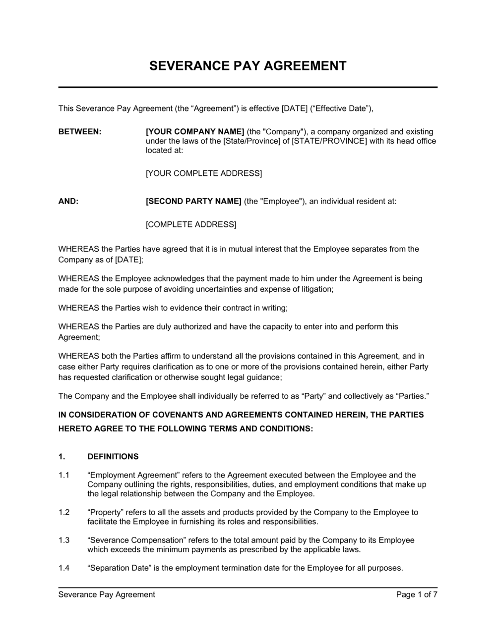 Business-in-a-Box's Severance Pay Agreement Template