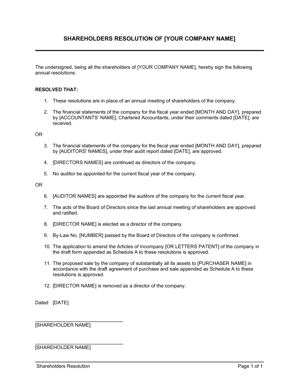 Business-in-a-Box's Shareholders Resolution Template