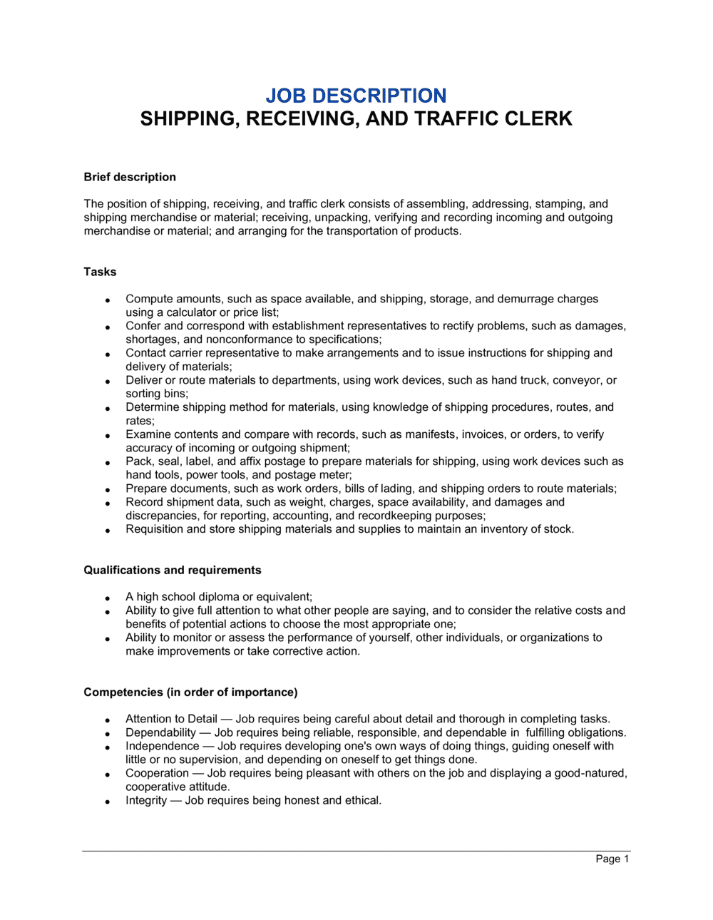 Business-in-a-Box's Shipping, Receiving and Traffic Clerk Job Description Template