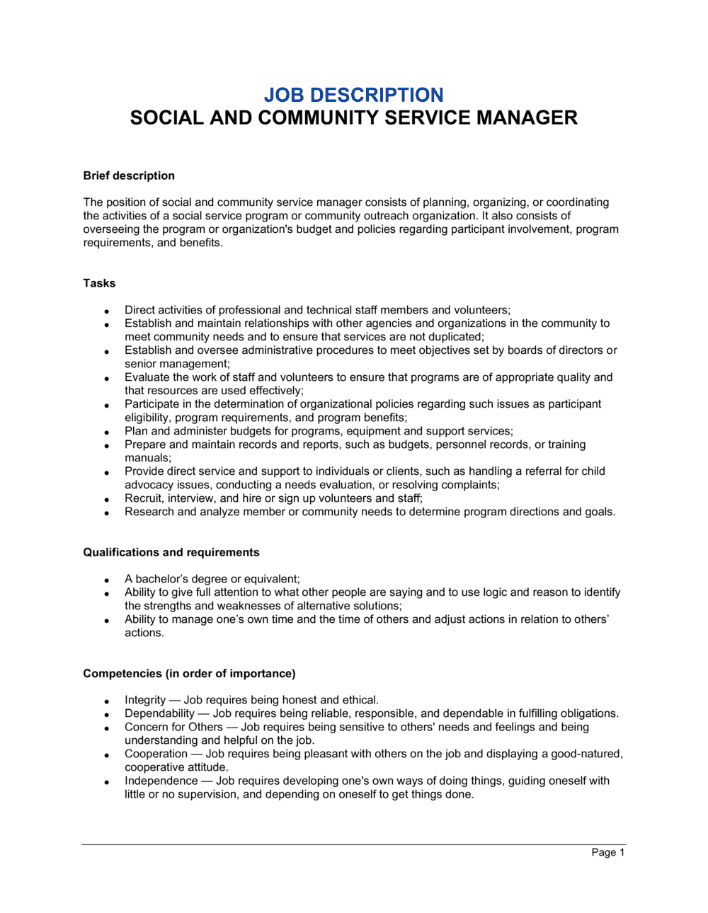 Business-in-a-Box's Social and Community Service Manager Job Description Template