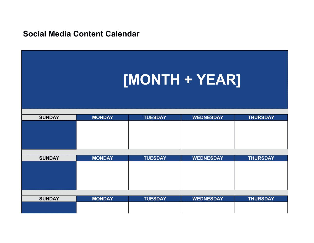 Business-in-a-Box's Social Media Content Calendar Template