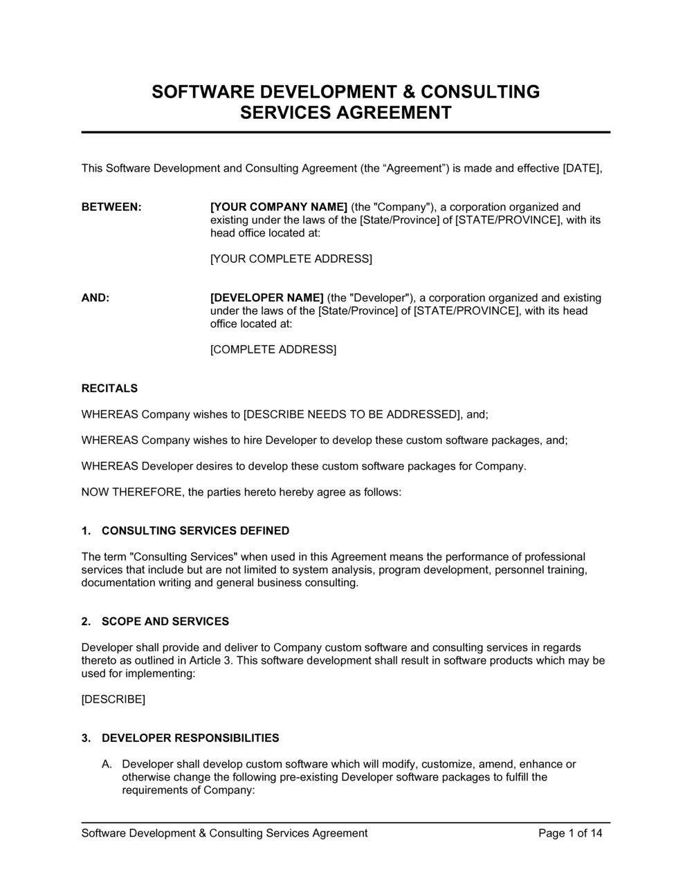 Business-in-a-Box's Software Development and Consulting Services Agreement Template