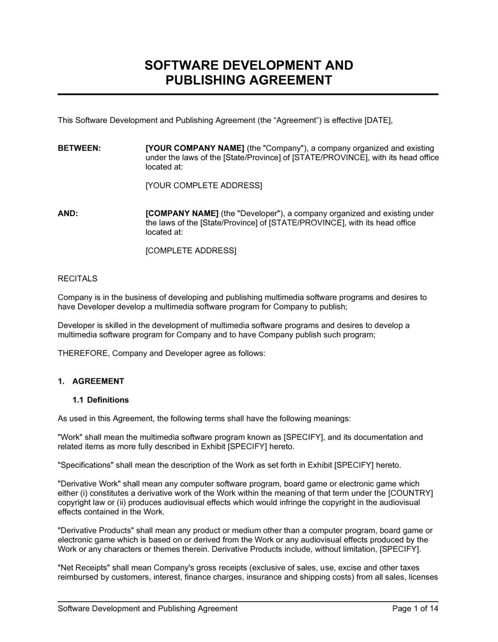 Business-in-a-Box's Software Development and Publishing Agreement Template
