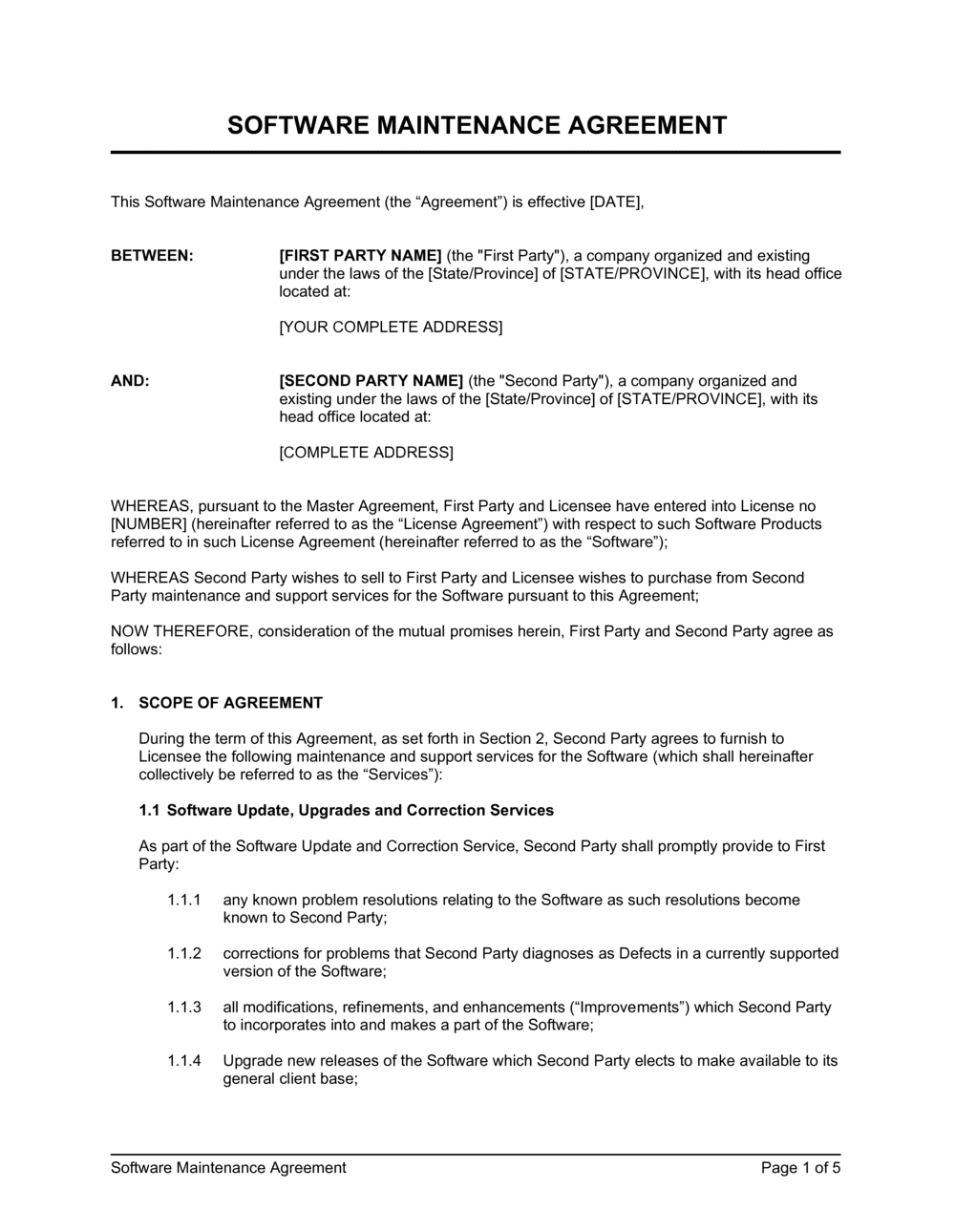 Business-in-a-Box's Software Maintenance Agreement 2 Template