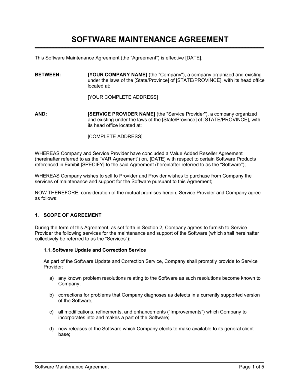 Business-in-a-Box's Software Maintenance Agreement VAR Template
