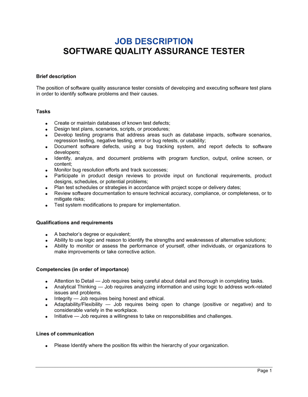 Business-in-a-Box's Software Quality Assurance Tester Job Description Template