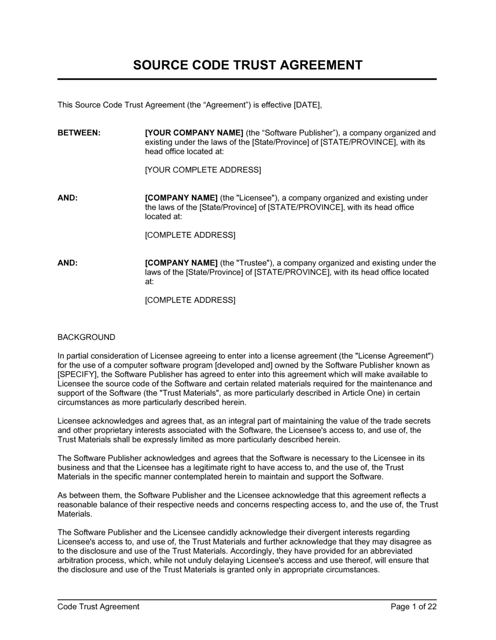 Business-in-a-Box's Source Code Trust Agreement 2 Template