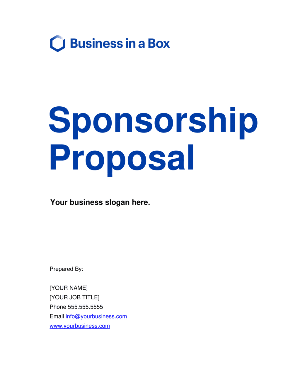 Business-in-a-Box's Sponsorship Proposal Template