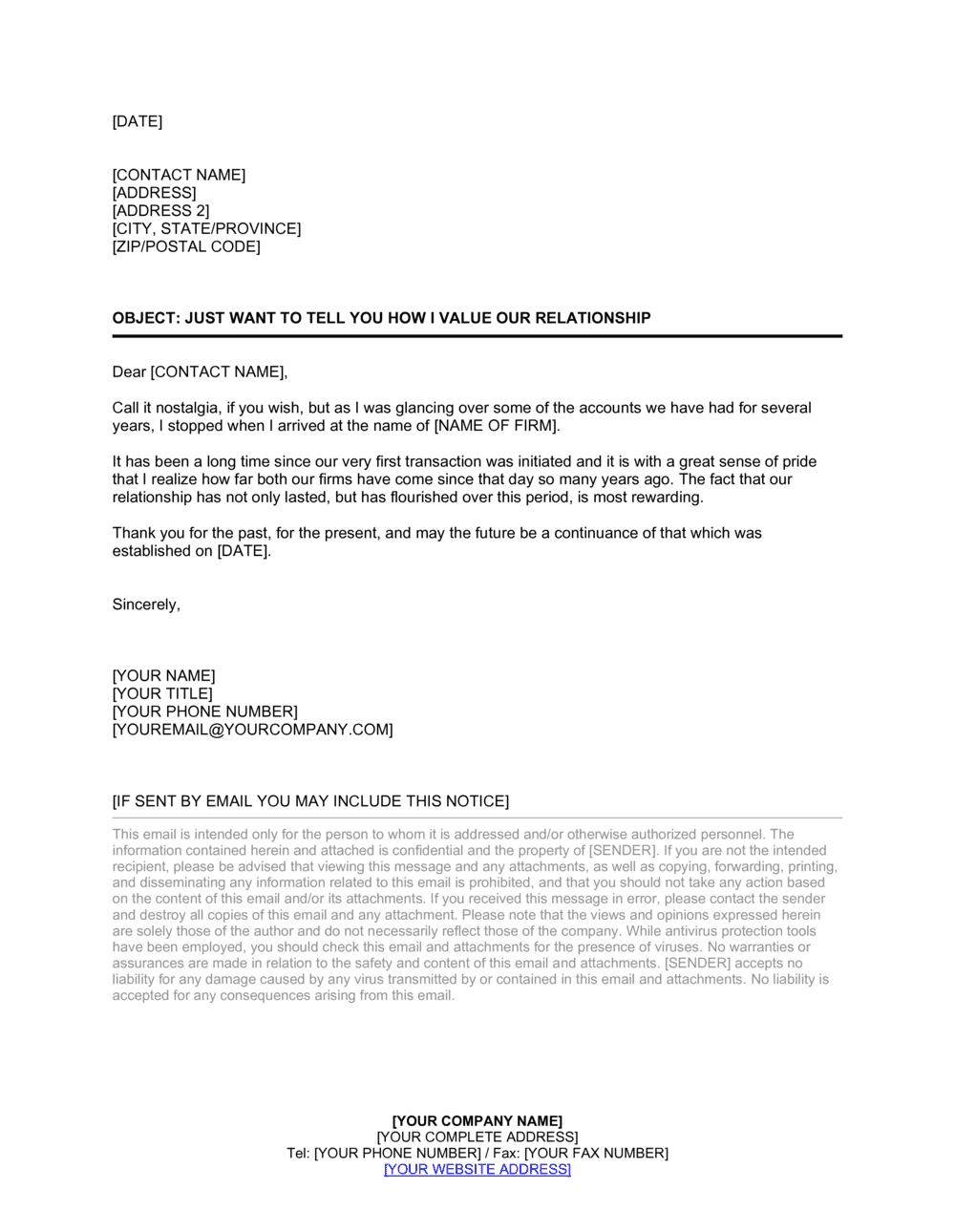 Business-in-a-Box's Spontaneous Good Customer Relations Letter Template
