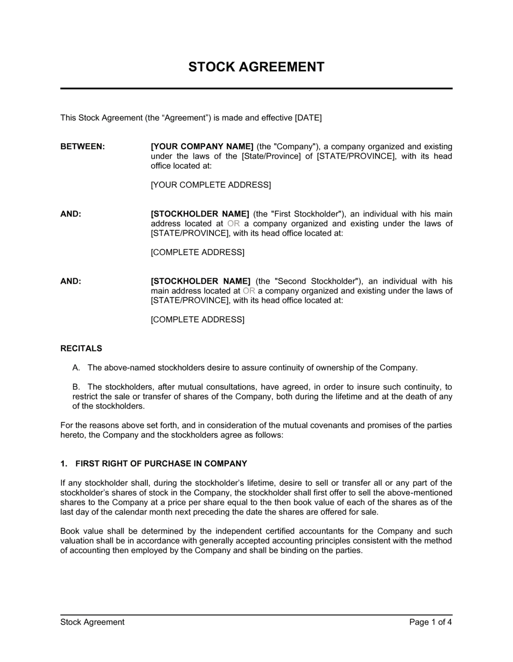 Business-in-a-Box's Stock Agreement Template