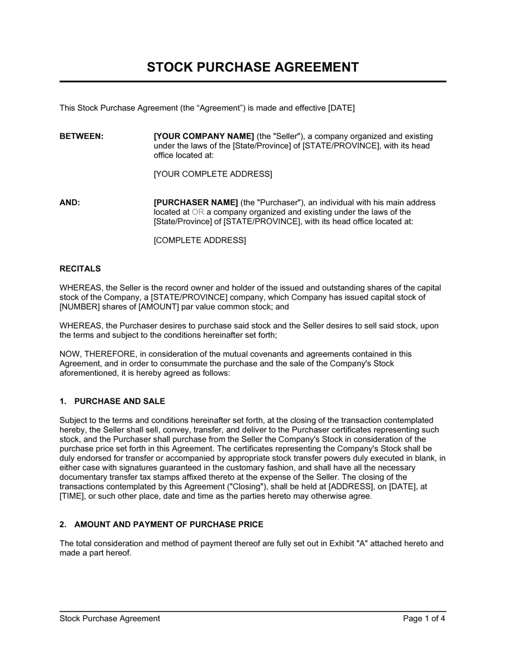 Business-in-a-Box's Stock Purchase Agreement Template