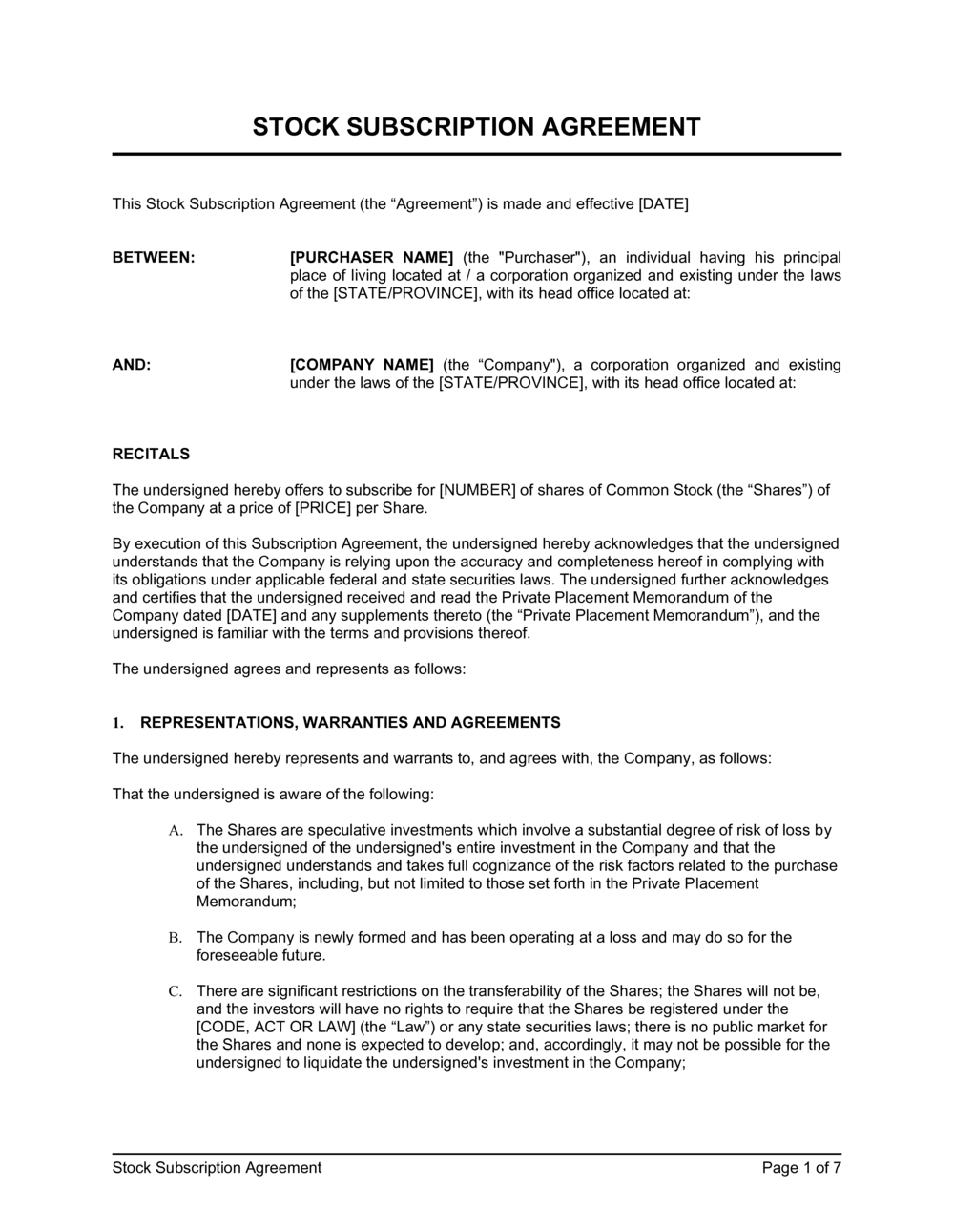 Business-in-a-Box's Stock Subscription Agreement Template