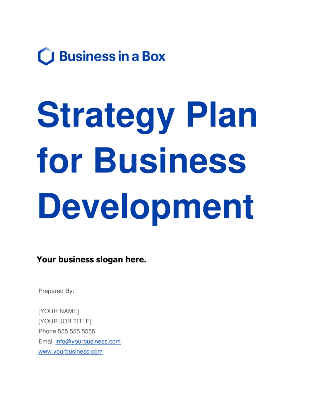 Business-in-a-Box's Strategy Plan For Business Development Template