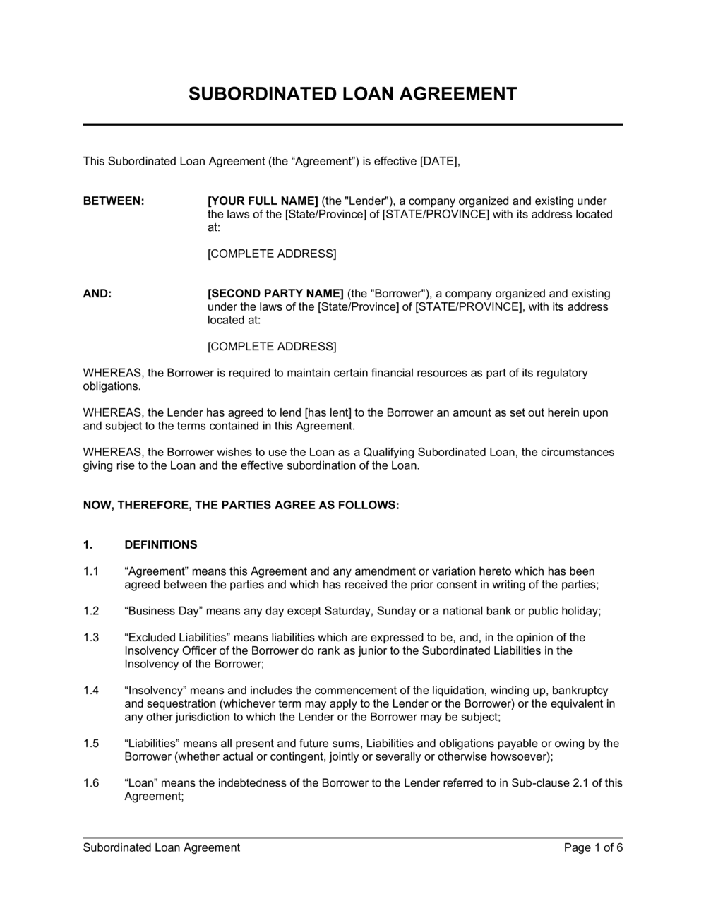 Business-in-a-Box's Subordinated Loan Agreement Template
