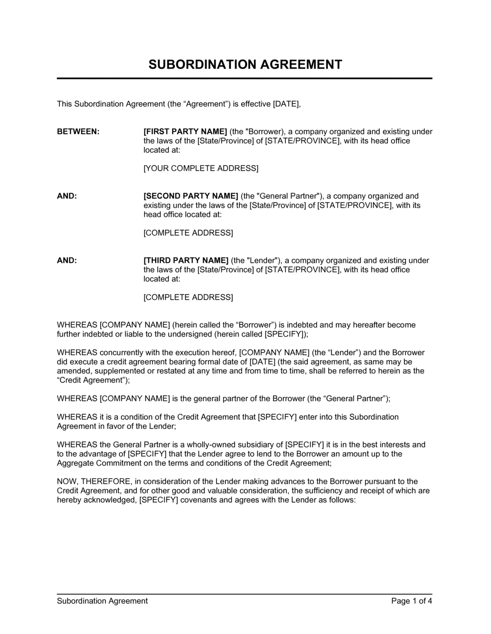 Business-in-a-Box's Subordination Agreement Template