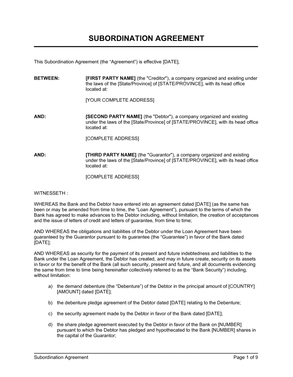 Business-in-a-Box's Subordination Agreement Long Form Template