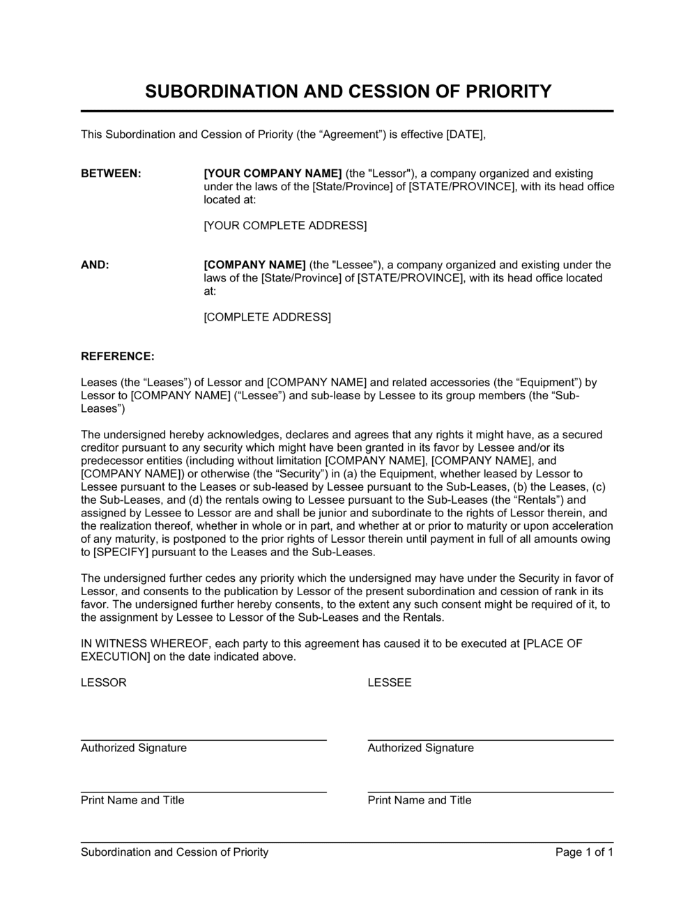 Business-in-a-Box's Subordination and Cession of Priority Leased Equipment Template