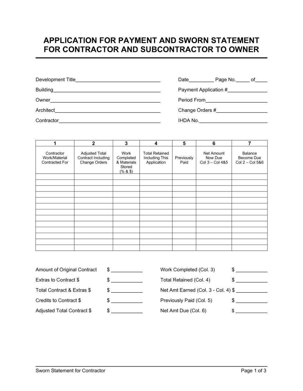 Business-in-a-Box's Sworn Statement for Contractor Template