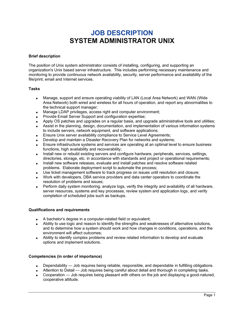 Business-in-a-Box's System Administrator Unix Job Description Template