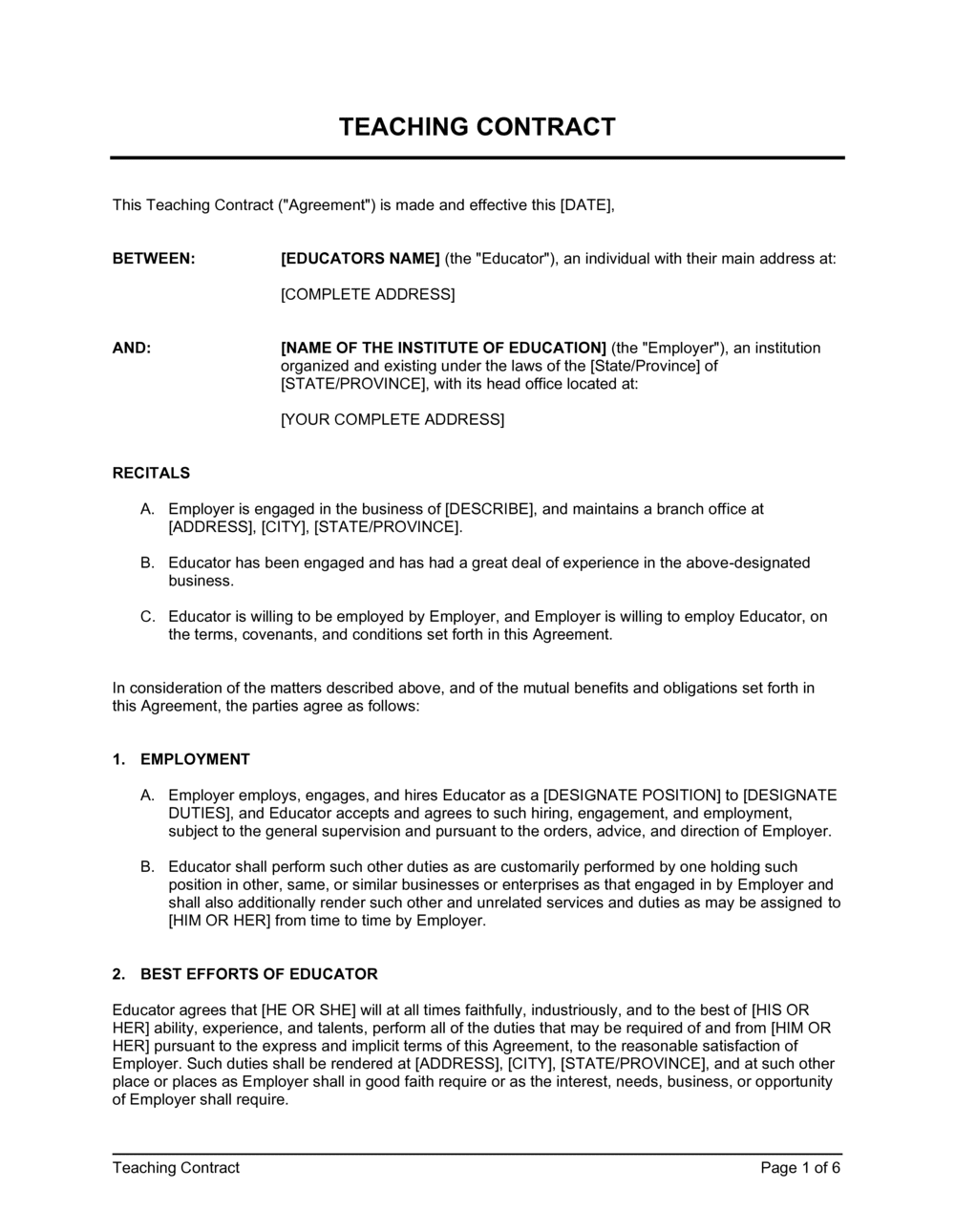 Business-in-a-Box's Teaching Contract Template