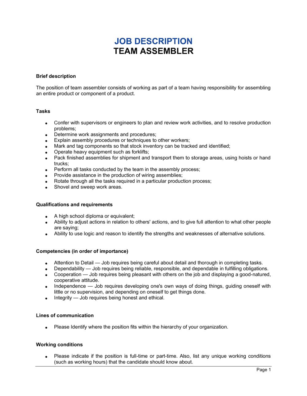 Business-in-a-Box's Team Assembler Job Description Template