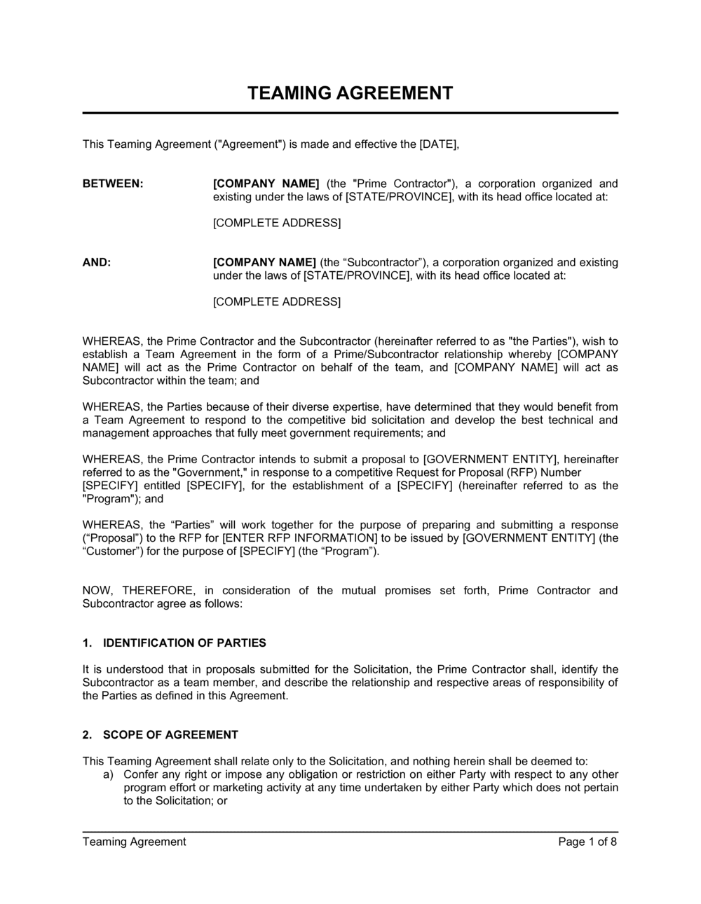 Business-in-a-Box's Teaming Agreement Template