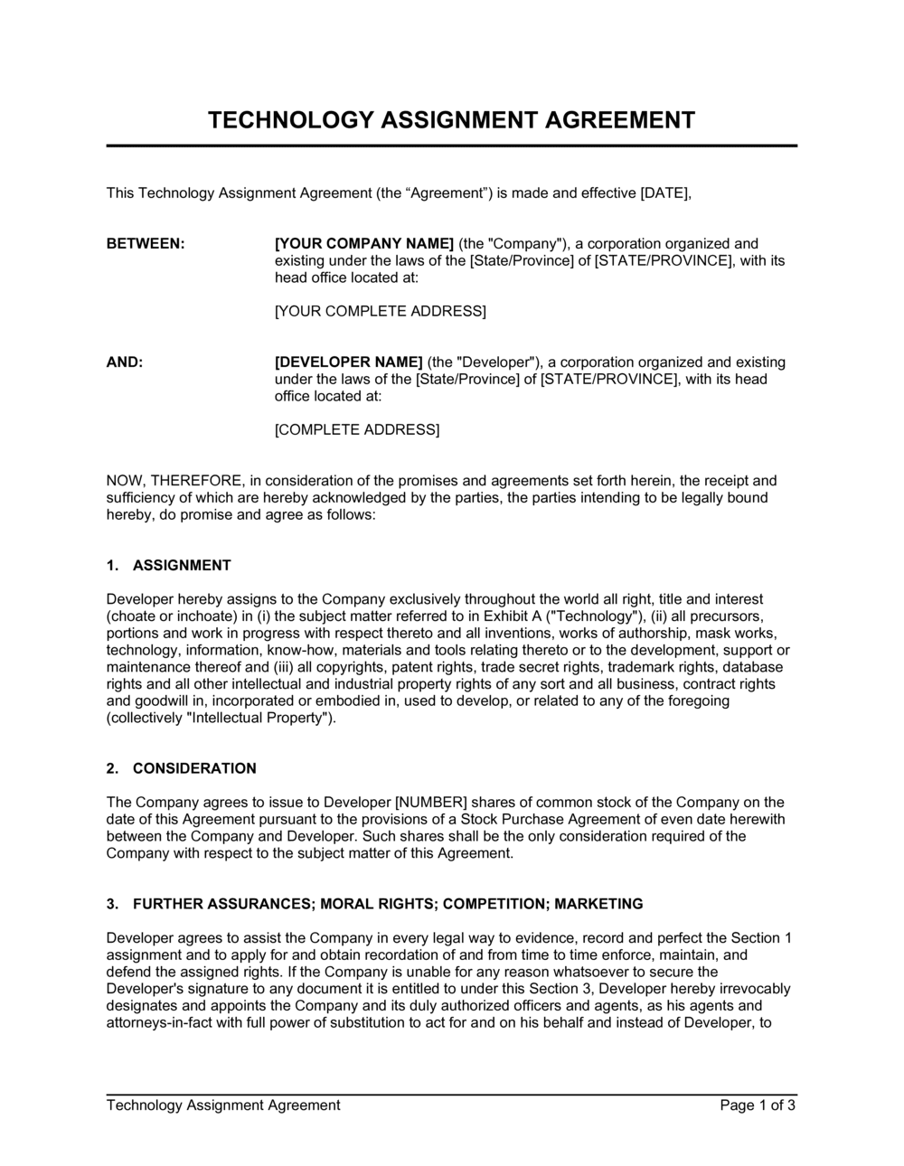 Business-in-a-Box's Technology Assignment Agreement Template