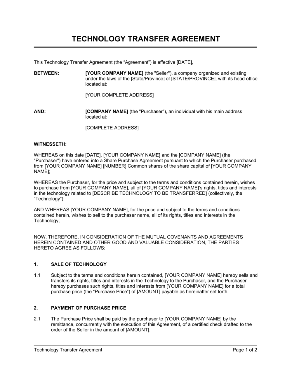 Business-in-a-Box's Technology Transfer Agreement Template