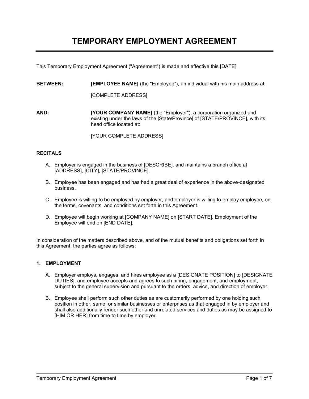 Business-in-a-Box's Temporary Employment Contract Template