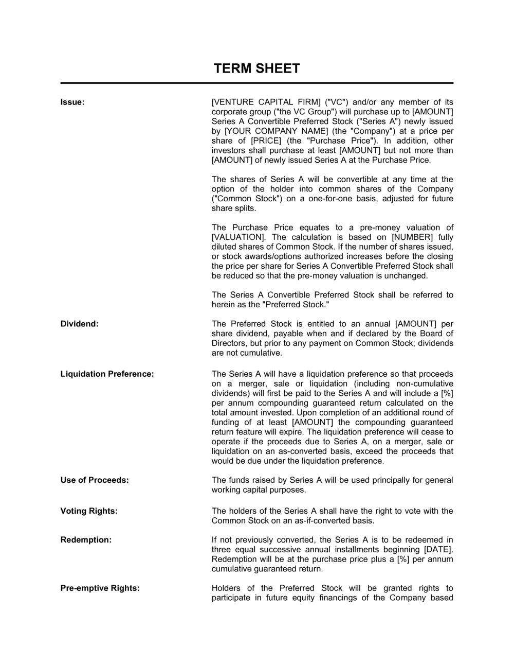 venture capital investment term sheet template