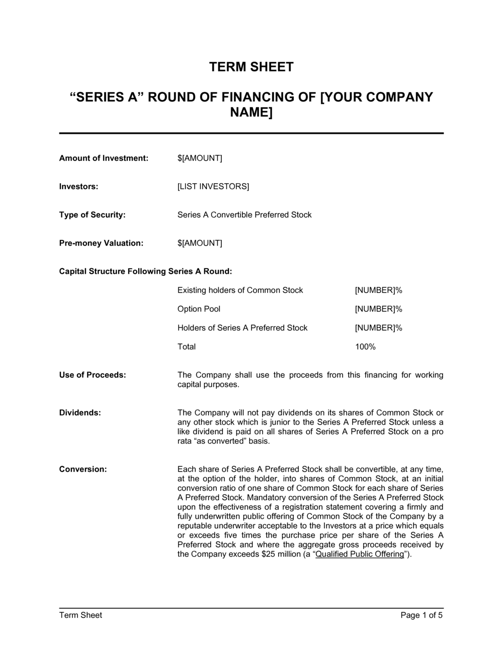 Business-in-a-Box's Term Sheet for Series A Round of Financing Template