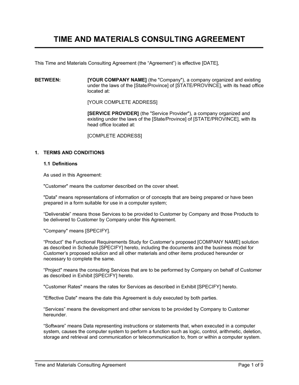 Business-in-a-Box's Time and Materials Consulting Agreement Template